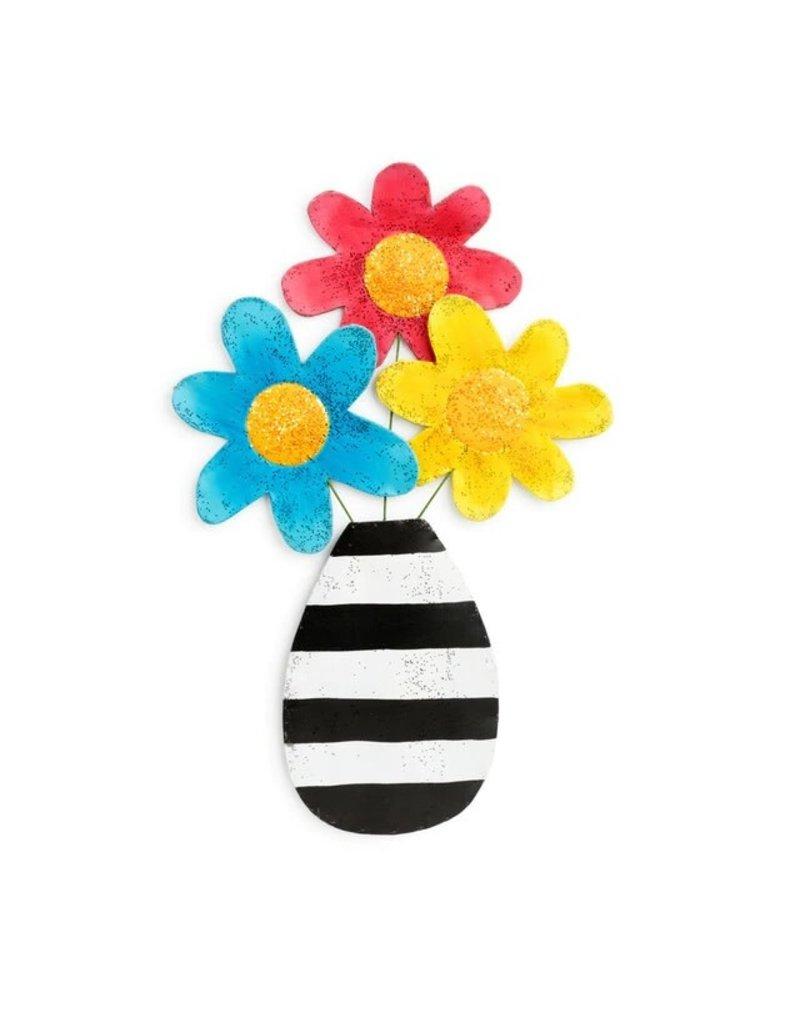 Demdaco Door Screening Flowers in a Striped Vase