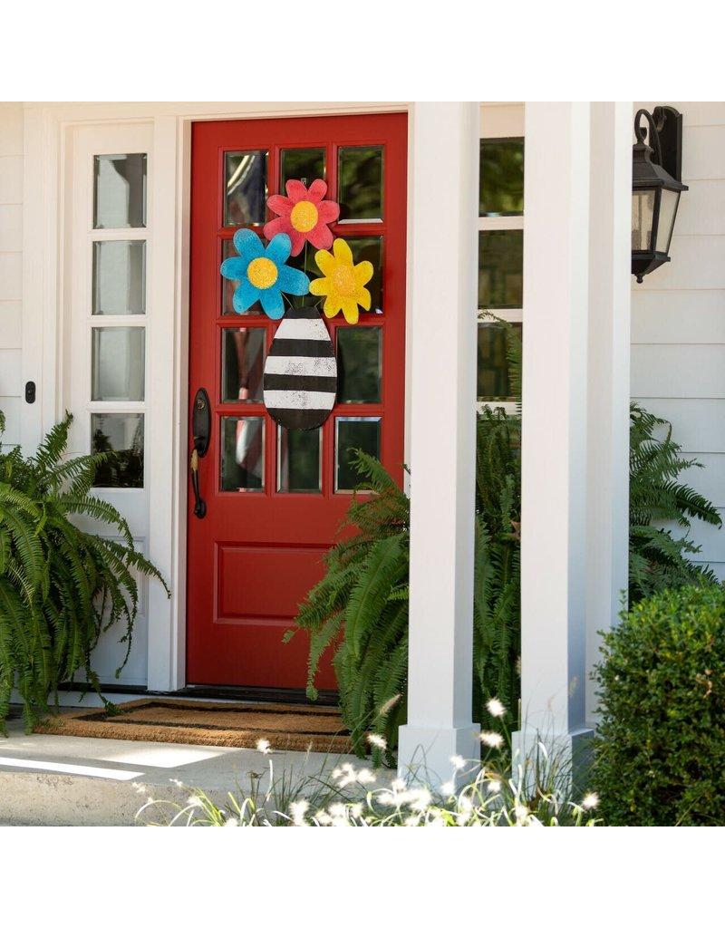 Door Screening Flowers in a Striped Vase