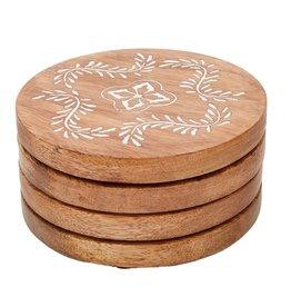Mud Pie Wood Coaster Set Carved