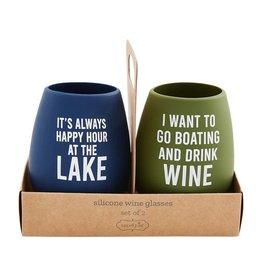 Mud Pie Silicone Glasses Happy Lake