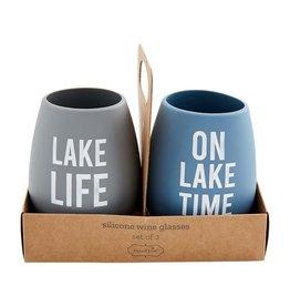 Mud Pie Silicone Glasses Lake Time