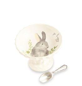 Watercolor Bunny Pedestal Gray