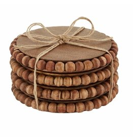 Mud Pie Beaded Wood Coasters