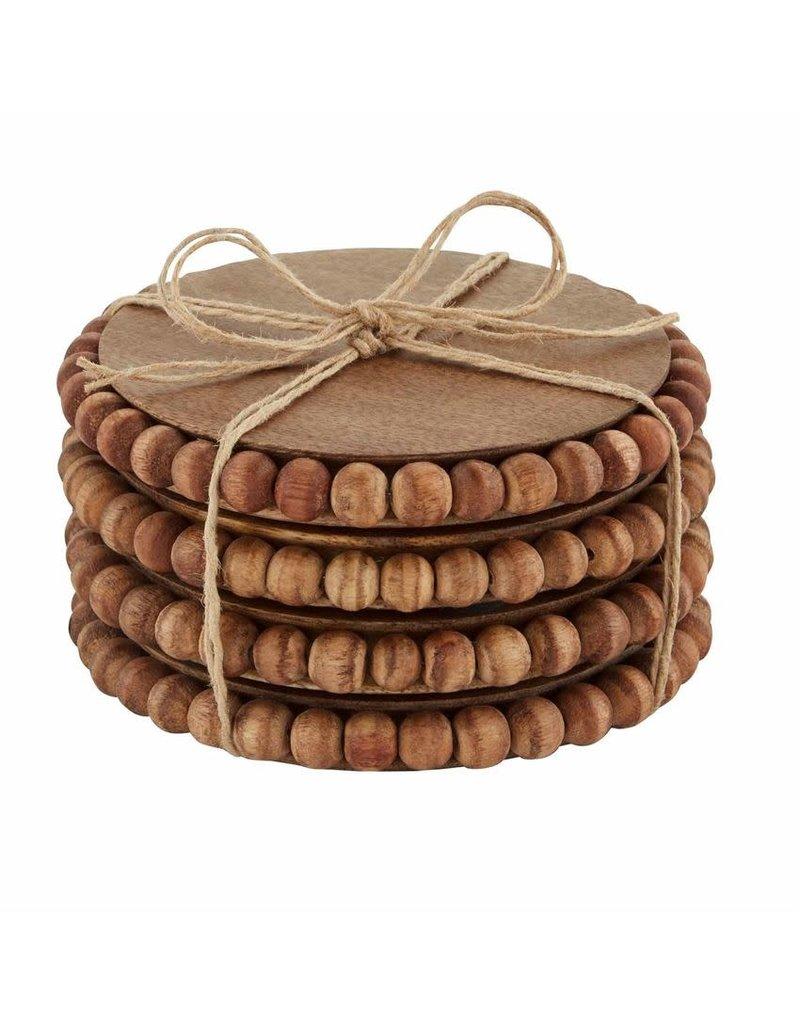 Mud Pie Beaded Wood Coasters