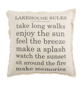 Mud Pie Pillow Canvas Lake Rules