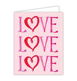 Folded Valentine Greeting Card-  LOVE LOVE LOVE