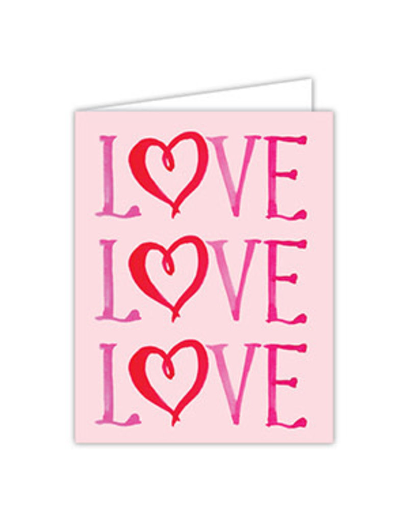 Folded Valentine Greeting Card-  LOVE LOVE LOVE