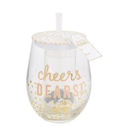 Mud Pie Wine Glass Set Confetti Blush