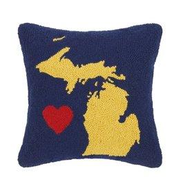 Michigan State Heart Hook Pillow Blue