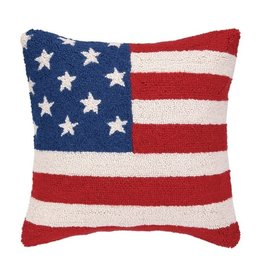 Peking Handicrafts USA American Flag Red White Blue Hook Pillow