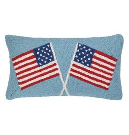 Peking Handicrafts Double American Flags Hook Pillow