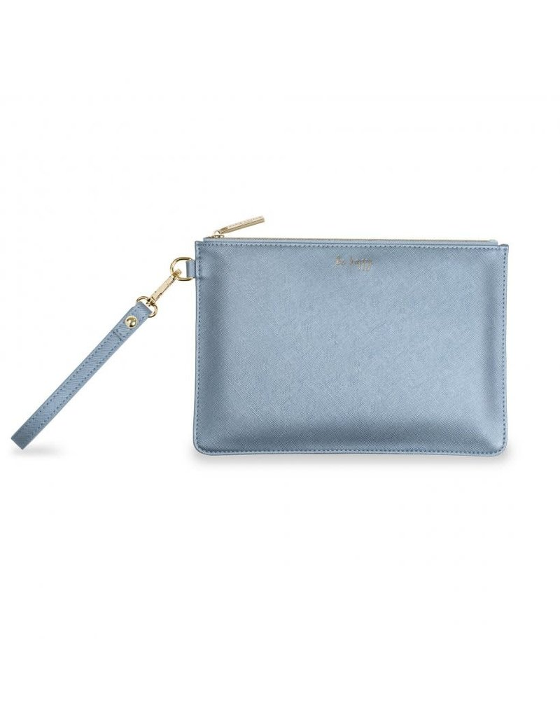 Katie Loxton Katie Loxton Secret Message Pouch-Be Happy/Love Laugh -Metallic Blue