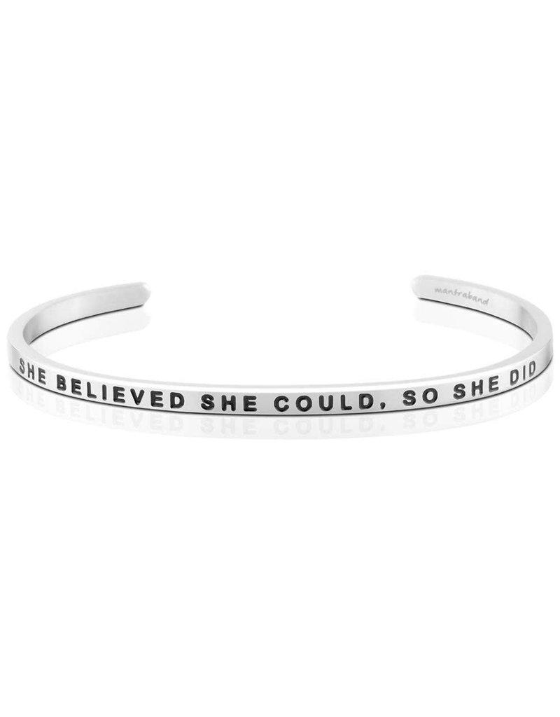 MantraBand Bracelet She Believed She Could- Silver
