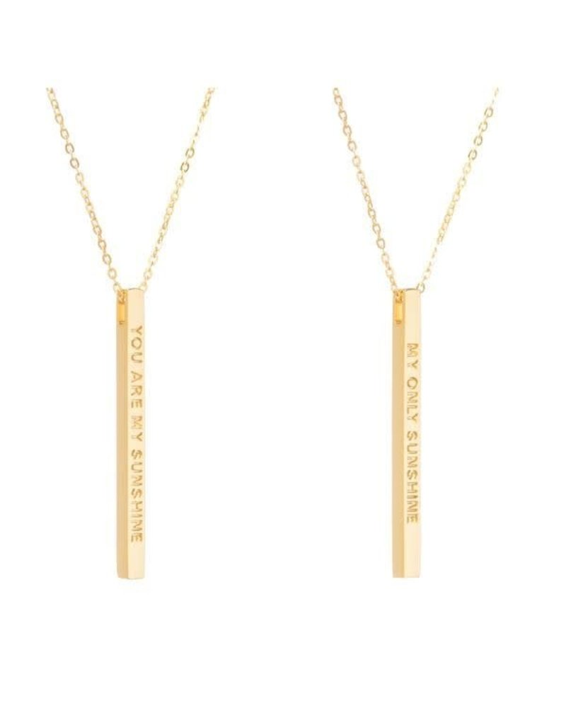 MantraBand Necklace You Are My Sunshine- Gold