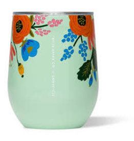 Corkcicle Stemless Wine Glass- 12oz Rifle Paper Mint Lively Floral