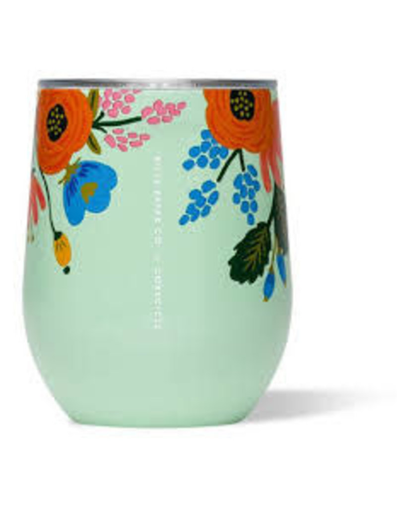 Corkcicle Corkcicle Stemless Wine Glass- Rifle Paper Lively Floral Mint