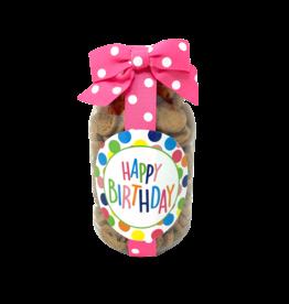 Oh Sugar 10oz Cookie Jar Happy Birthday Polka Dot