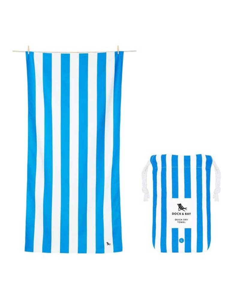 Quick Dry Towel Large Striped Royal Blue