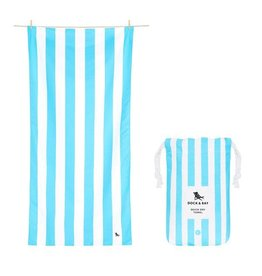 Quick Dry Towel Large Striped Light Blue