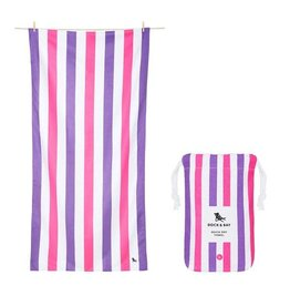 Quick Dry Towel Large Striped Pink & Purple