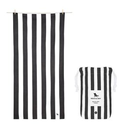 Quick Dry Towel Large Striped Black