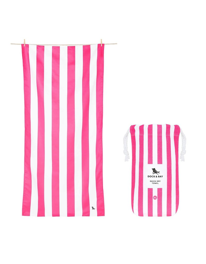 Quick Dry Towel Large Striped Pink