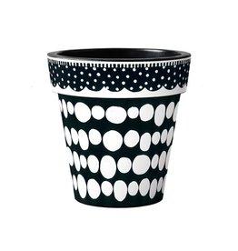 "Art Planter Medium 15"" Black and White Dots"