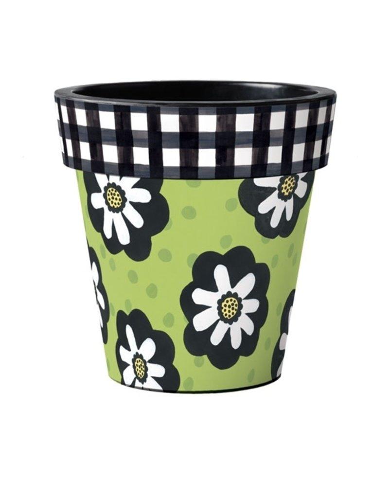 """Art Planter Large 18"""" Polka Dot & Flowers Green"""