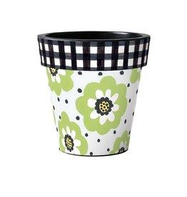 "Art Planter Medium 15"" Polka Dots & Flowers White"