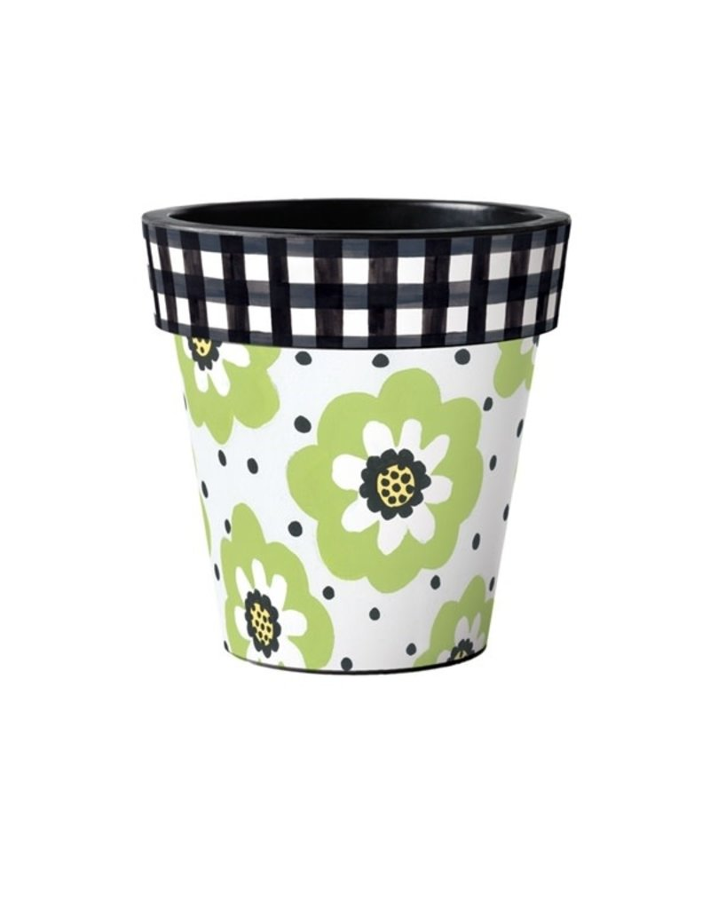"Art Planter Medium 15"" Polka Dots & Flowers White"