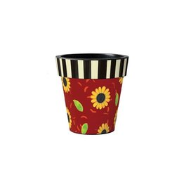 """Art Planter Small 12"""" Sunflower Leaves with Stripes"""