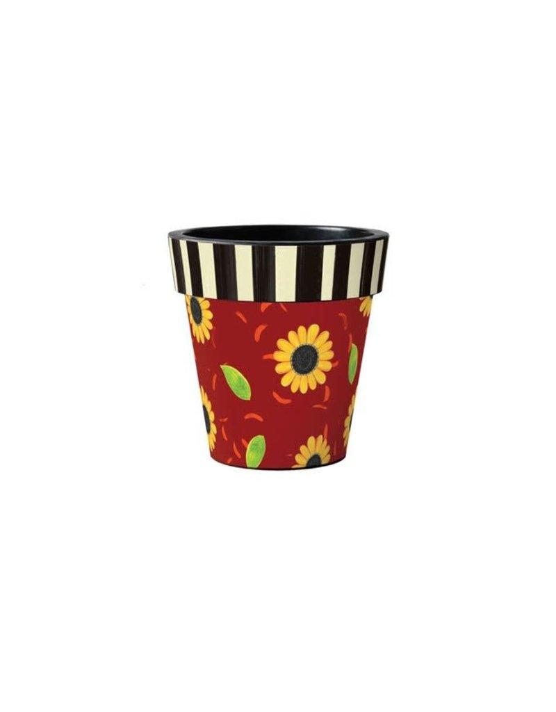 "Art Planter Small 12"" Sunflower Leaves with Stripes"