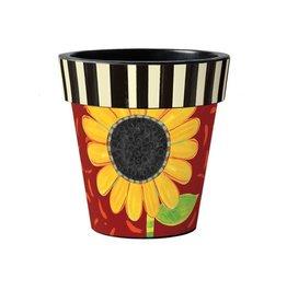 "Art Planter Large 18"" Bold Sunflower on Red"