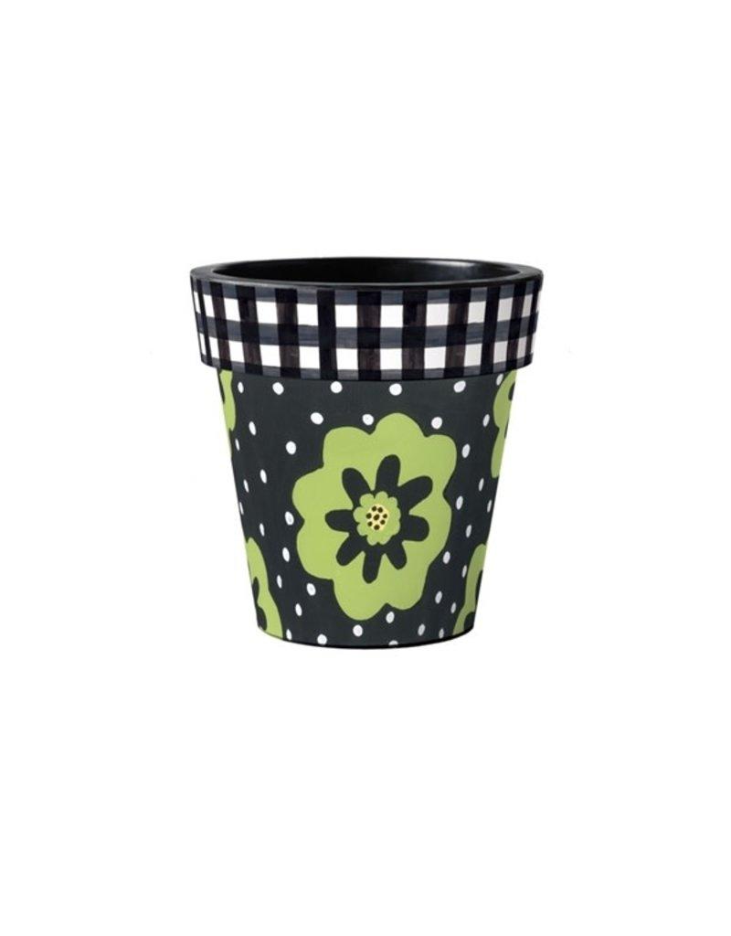 "Art Planter Small 12"" Polka Dots & Flowers Black"