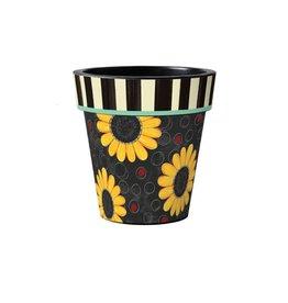 "Art Planter Medium 15""Sunflower Toss on Black"
