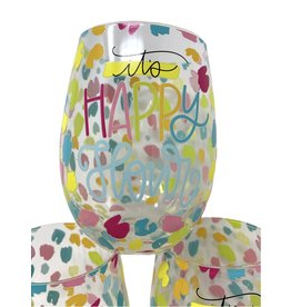 Mary Square Stemless Wine Glass Happy Hour