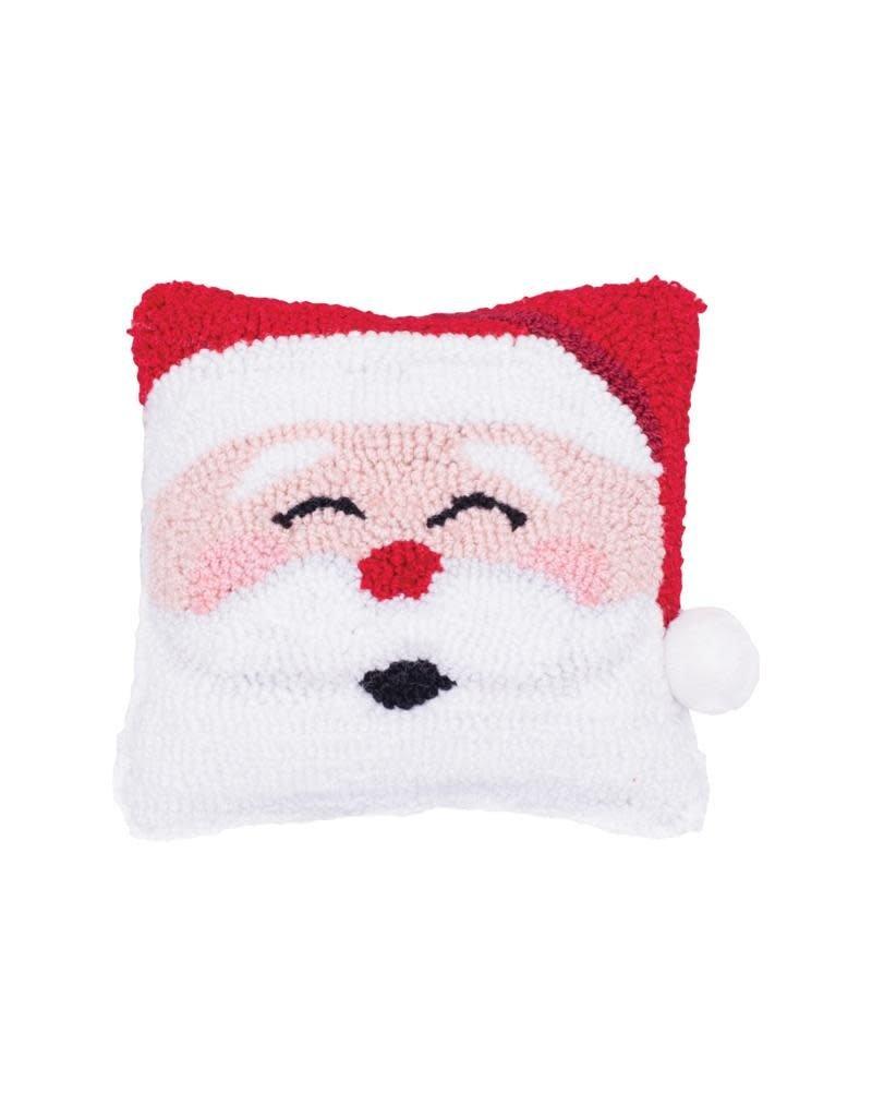 Pillow Small Hooked Happy Santa