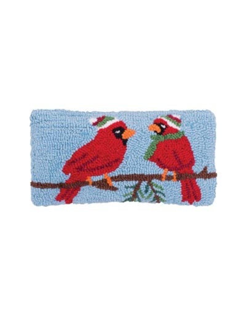 Pillow Small Hooked Winter Cardinal