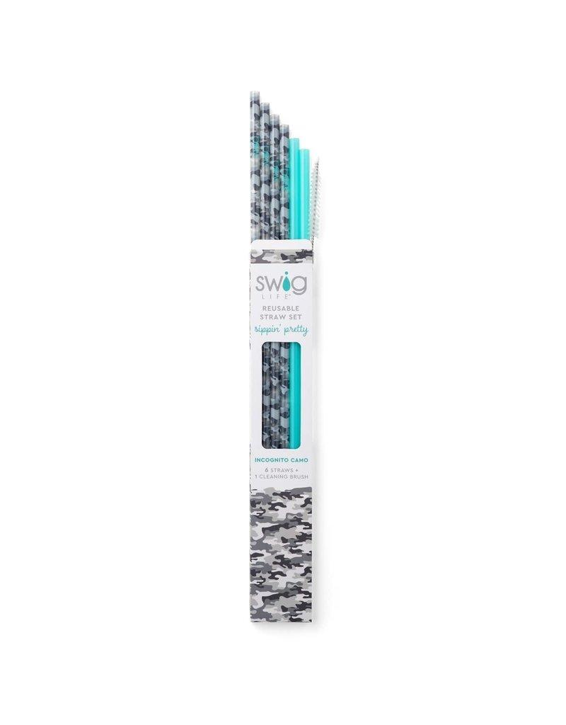Reusable Straw Set Incognito Camo & Aqua