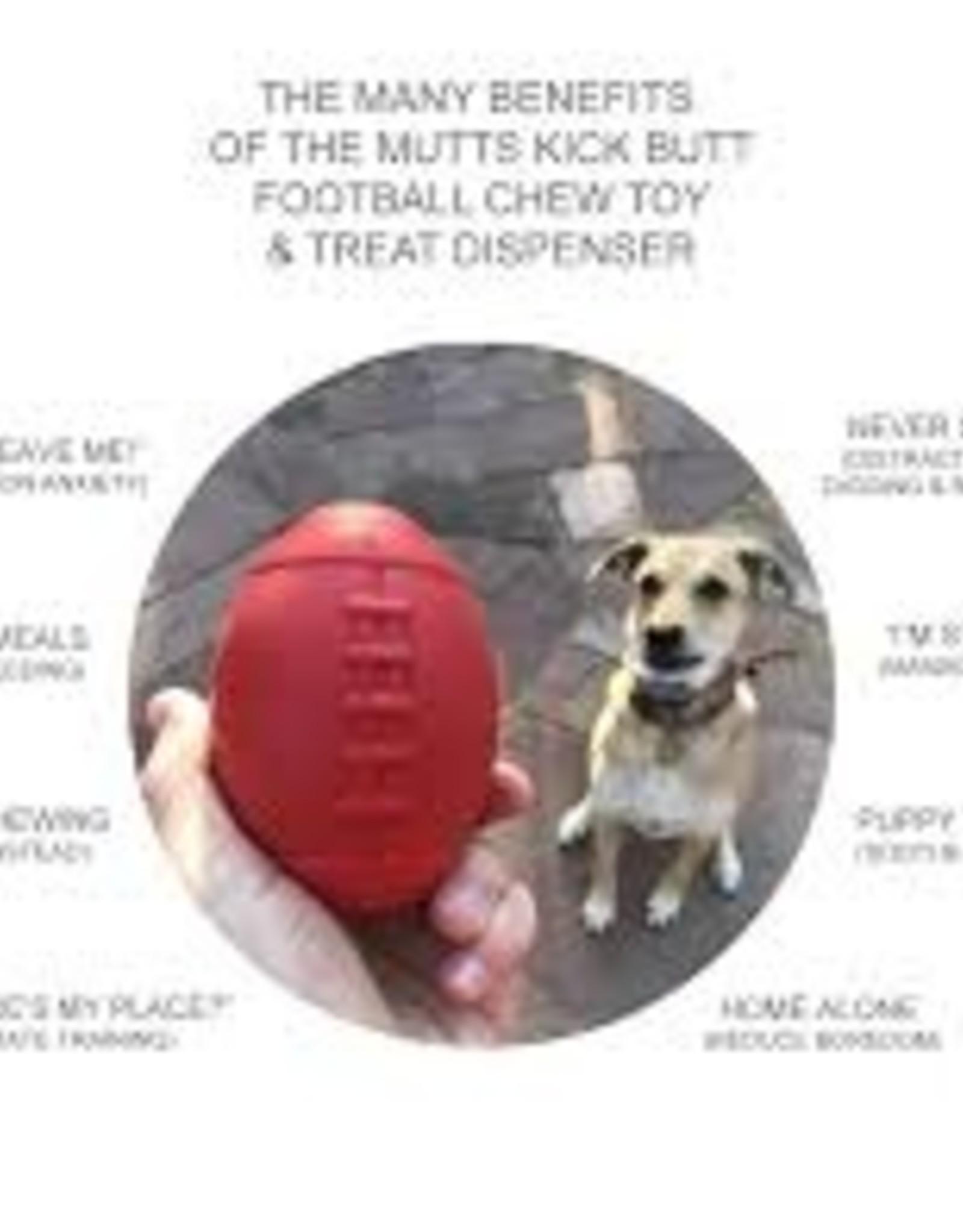 Mutts Kick Butts MKB Dog Chew Toy Football & Treat Dispenser Lrg