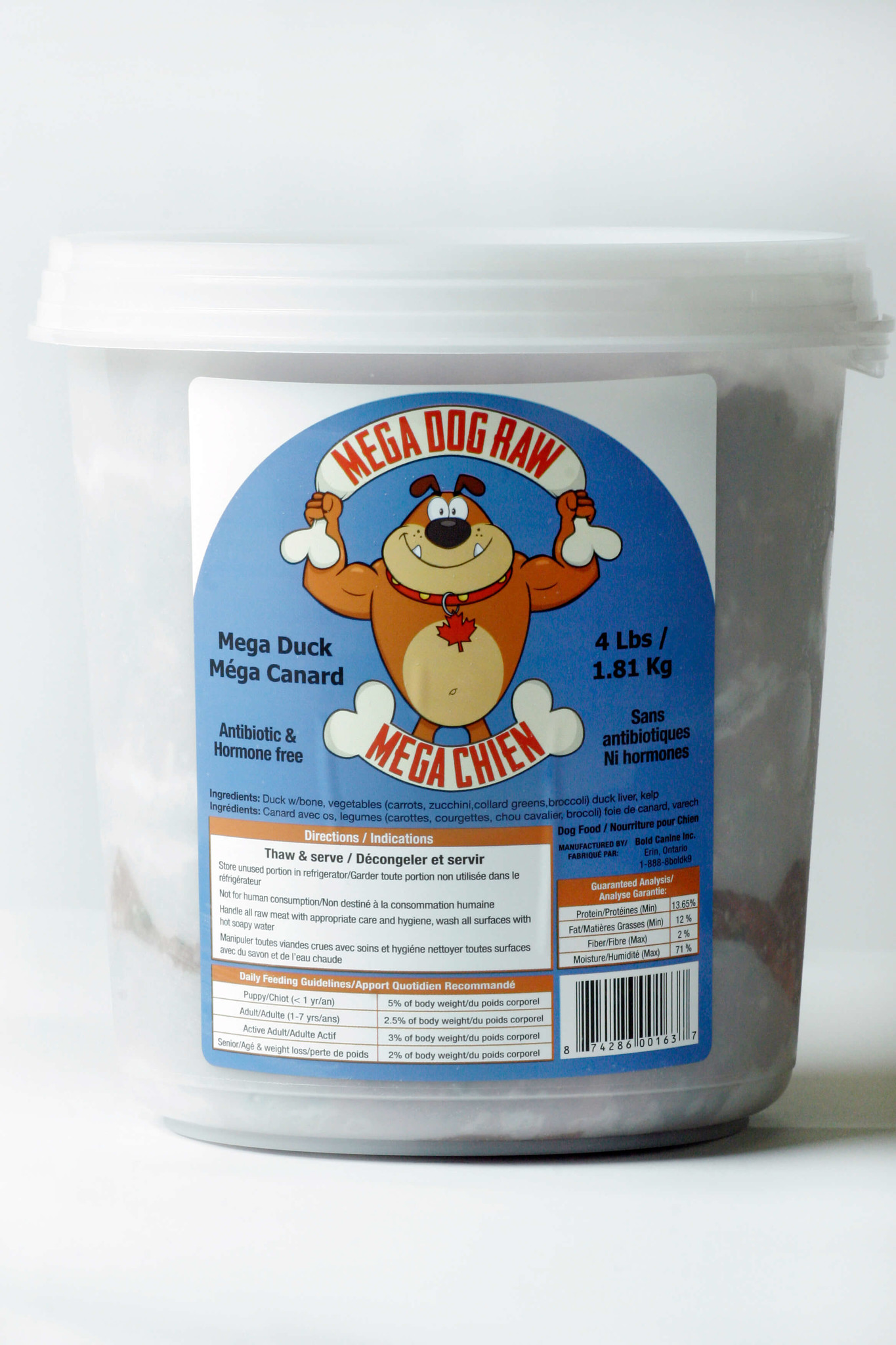 Mega Raw Bold Raw Mega Dog Duck 4lbs