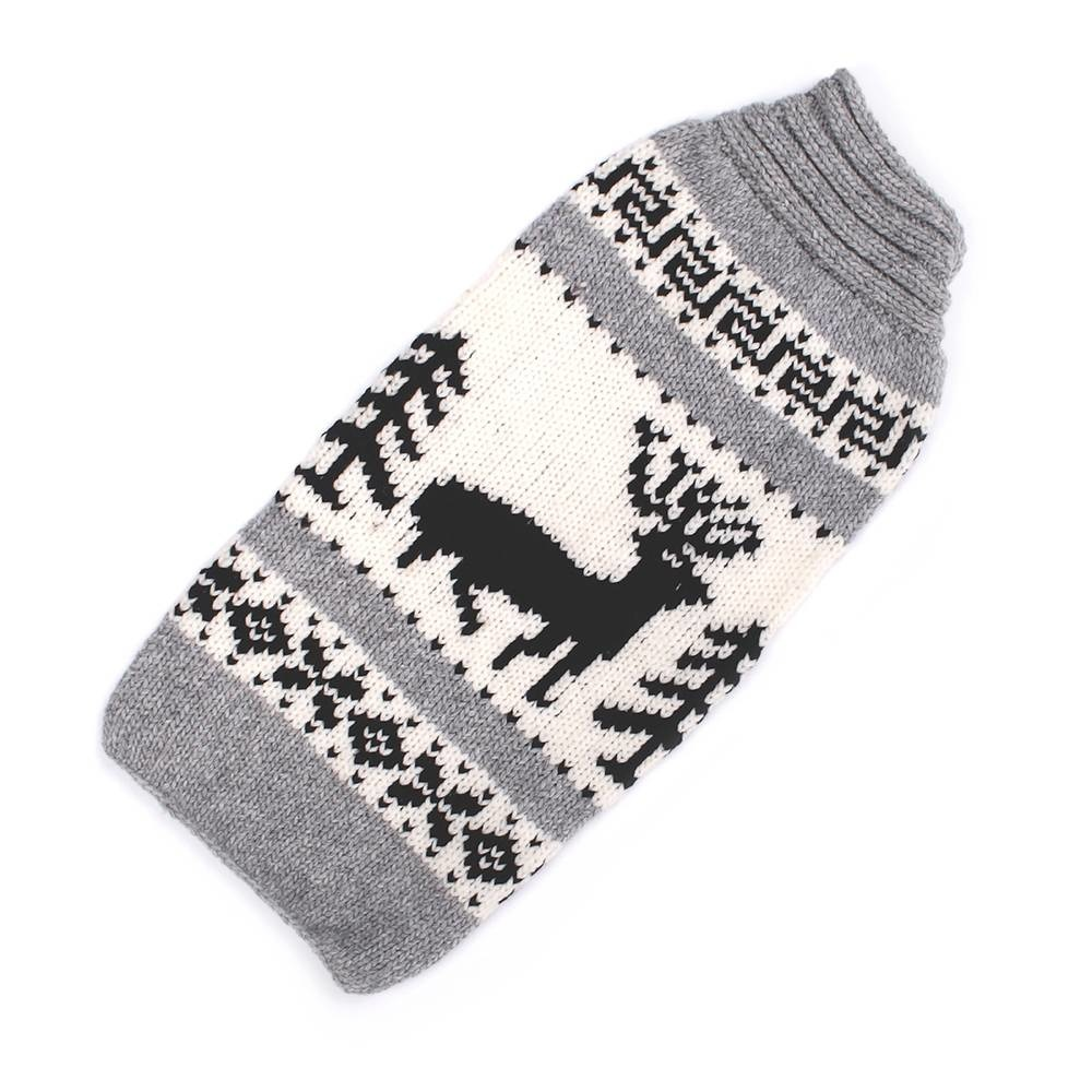 Chilly Dog Reindeer Grey Wool Sweater