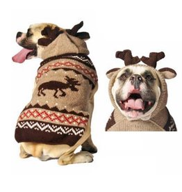 Chilly Dog Moose Hoodie Wool Sweater