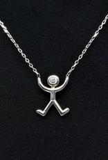 Nobles Metales Mountain Pose Yoga 14K White Gold Diamond Necklace
