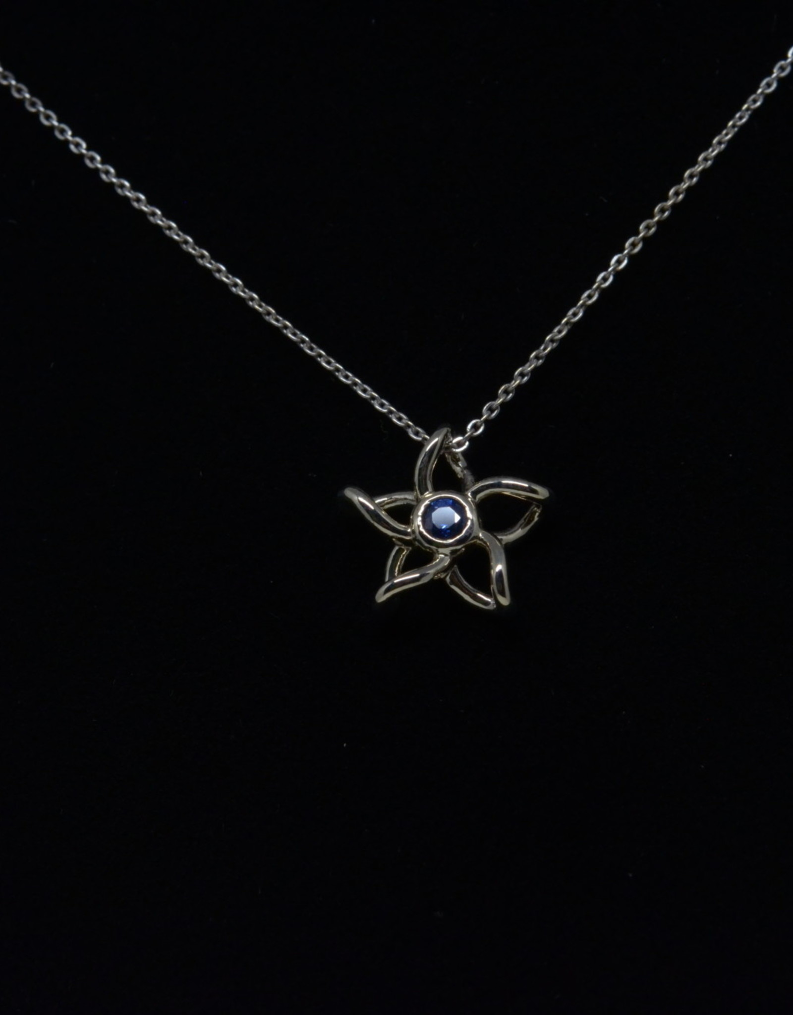 Nobles Metales 14K White Gold Distressed Finish Sapphire Plumeria Pendant