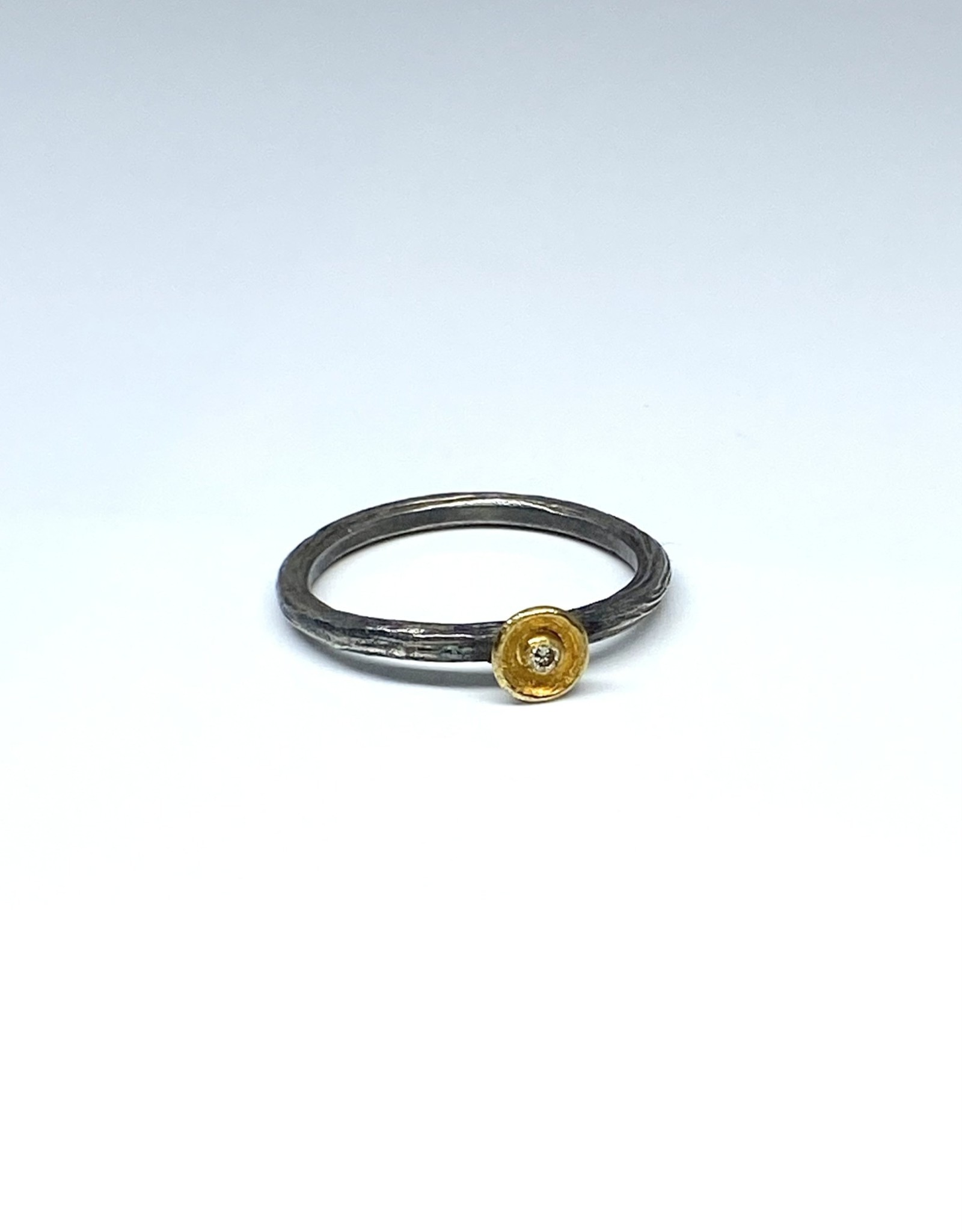 Prehistoric Works Gold Disk Diamond Ring