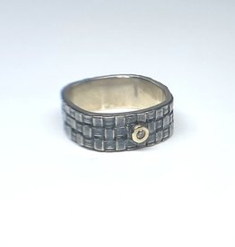 LINDA BERNASCONI Square Basket  Weave Ring
