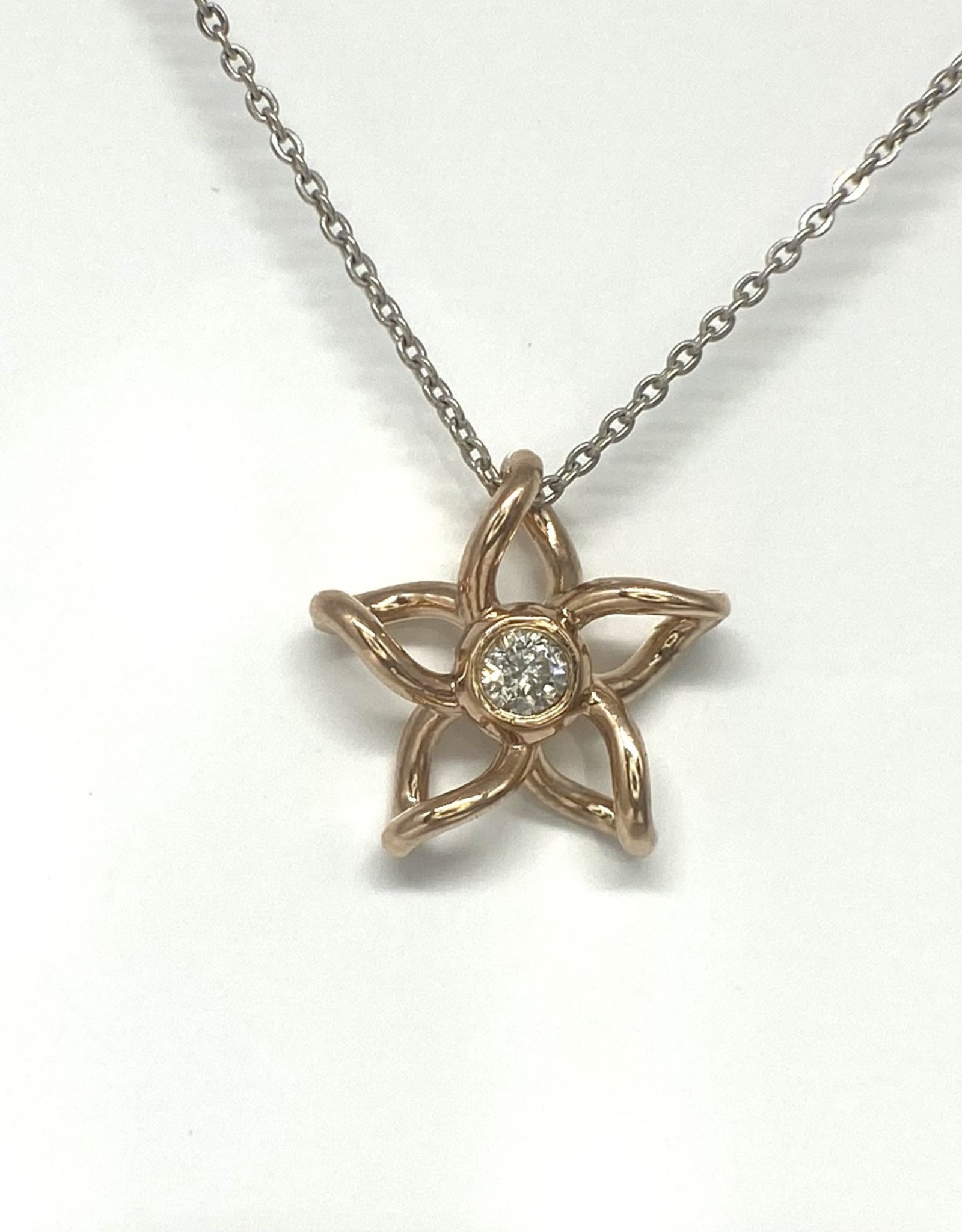 Nobles Metales 14K Rose Gold Diamond Plumeria Pendant