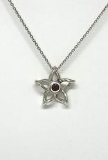 Nobles Metales Sterling Silver Garnet Plumeria Pendant