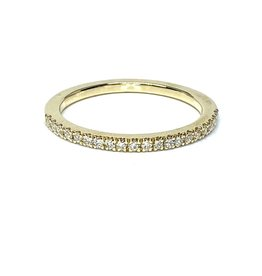 Nobles Metales Stackable Yellow Gold Band with Diamonds